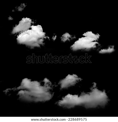 White clouds on black.