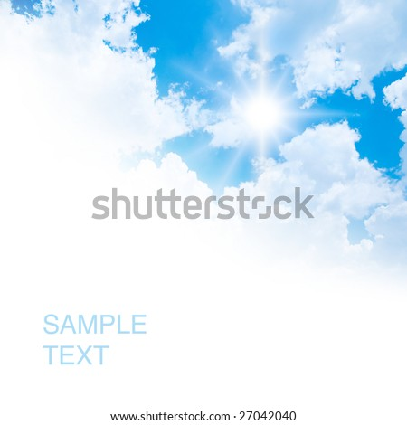 White clouds on blue sky. - stock photo
