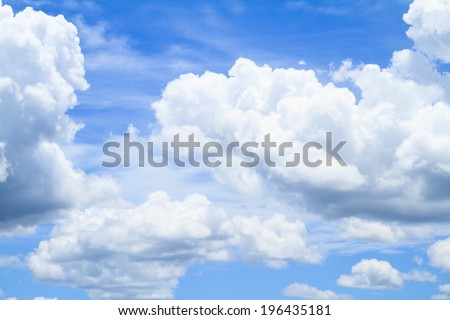 White clouds on blue sky in summer season