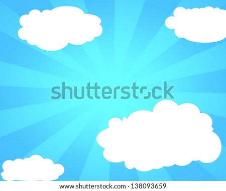 White clouds on the blue clear sky  background