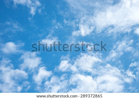 White clouds with blue sky for nature background - stock photo
