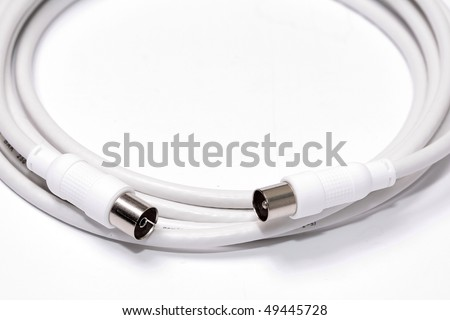 White coaxial cable ended with connectors