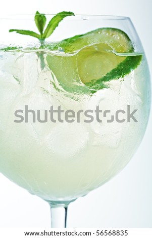White Cocktail with Mint, Ice and Lime - stock photo