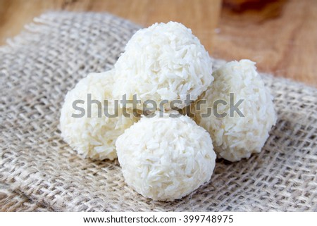white coconut candy balls