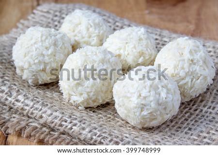 white coconut candy balls - stock photo