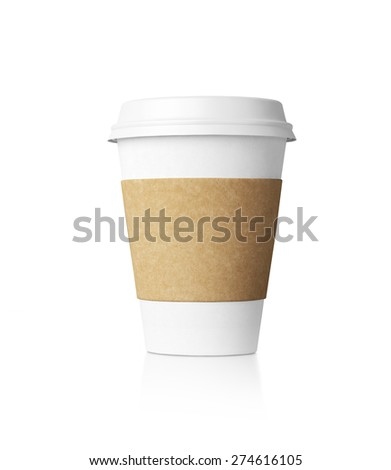 White coffe cup isolated. 3d rendering