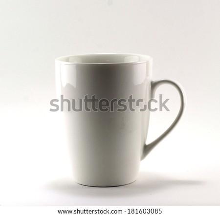 white coffe mug isolated on a white background - stock photo