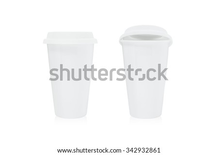 White coffee cup and lid on isolated background. - stock photo