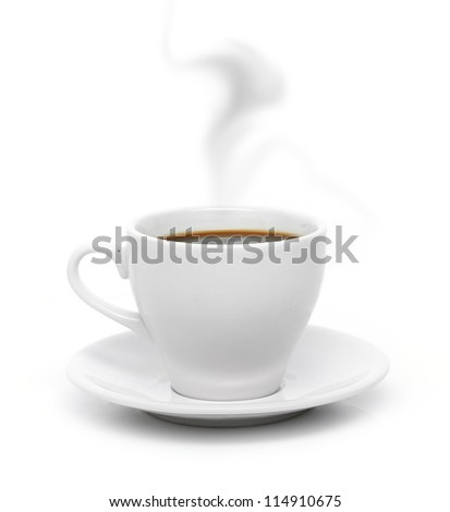 White coffee cup on plate with smoke isolated on white background.
