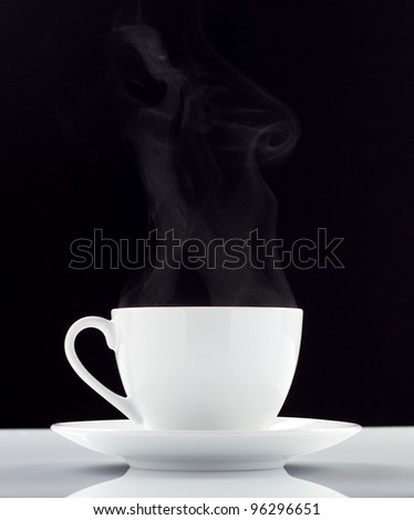 White coffee cup over black background - stock photo