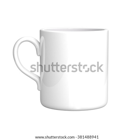 White coffee mug isolated on white. Mock up template.