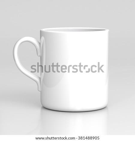 White coffee mug on gray background. Black template. - stock photo