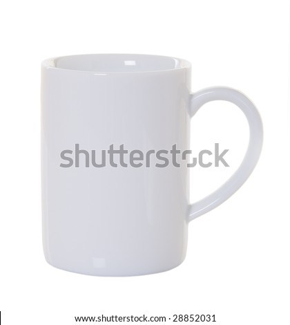 White coffee mug with no shadow or reflection