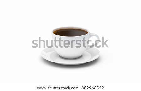 White coffee or tea cup and saucer isolated on clean white background 3D illustration