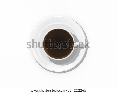 White coffee or tea cup and saucer top view isolated on white background