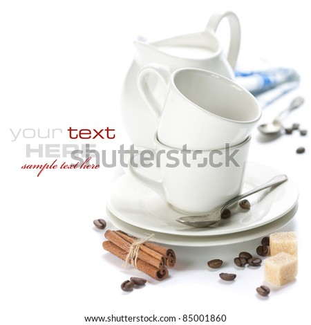White Coffee Set (coffee cups and milk jug) over white (with sample text) - stock photo