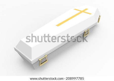 White coffin, with shadows, 3d render - stock photo