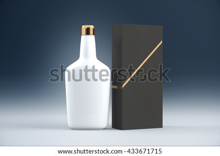 White cognac bottle and packaging without lables. Mock up, 3D Rendering