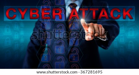 White collar hacker touching the warning CYBER ATTACK onscreen. Technology and business concept for offensive acts targeting critical computer information systems and computer networks in cyberspace. - stock photo