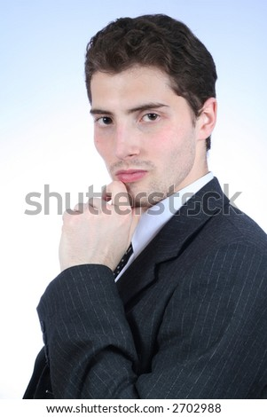White-collar worker. Close-up over white background