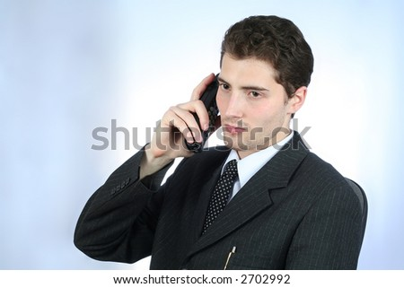 White-collar worker phone over sky-blue background