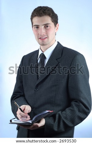 White-collar worker with pen and note over sky-blue background