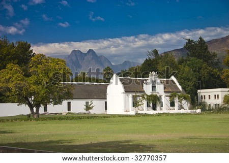 White colonial building in Stellenbosch, South Africa - stock photo