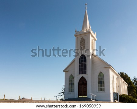 White Colonial Style Church. This is the Church used in the film The Birds - stock photo