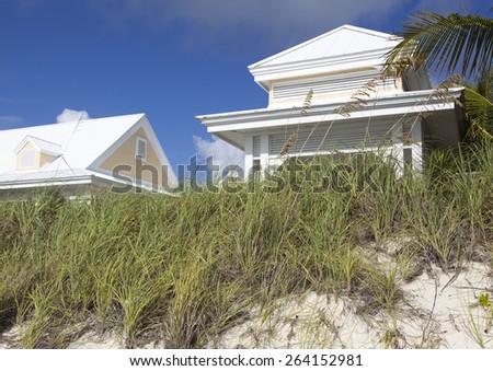 White color house built on Lucaya beach  (Grand Bahama Island). - stock photo