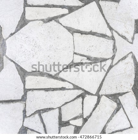 White color natural stone broken pattern wall texture background