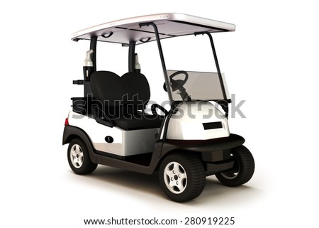 White colored golf cart on a white isolated background. - stock photo