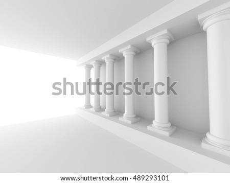 White Column Background. Abstract Architecture Wallpaper. 3d Render Illustration