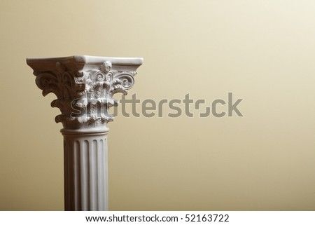 white column on yellow background - stock photo