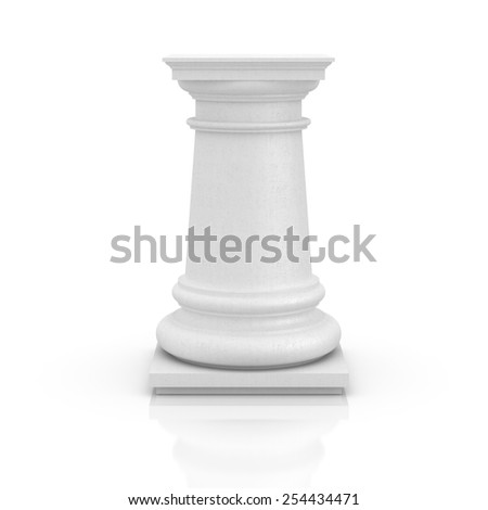 White column pedestal isolated on white. Copy space image. - stock photo
