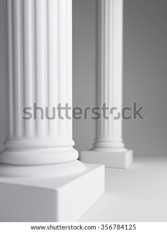 white columns and white background