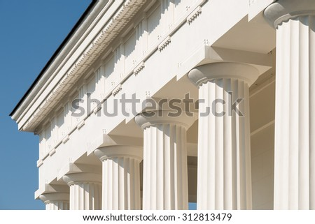 White Columns Of Ancient Temple - stock photo