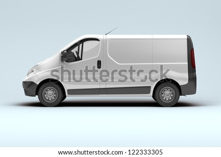 White commercial van on a gray background with shadow - stock photo