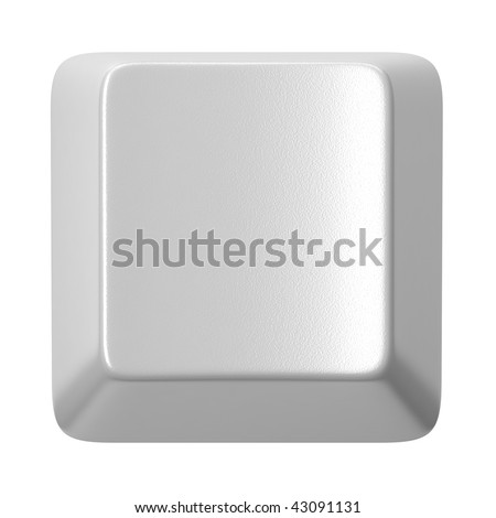 White computer key with clear space isolated on white - stock photo