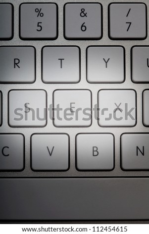 white computer keyboard with keys changed to form the word sex - stock photo
