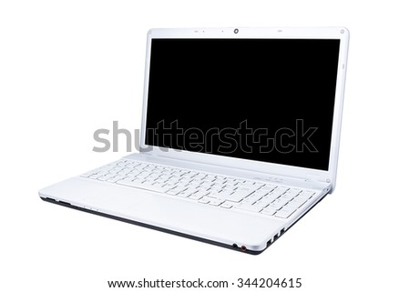 White Computer laptop blank display three-quarters view isolated