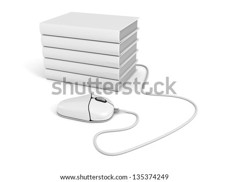 white computer mouse and books stack. e-learning concept - stock photo