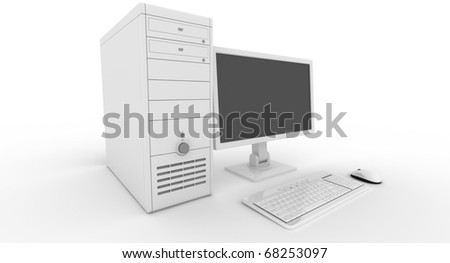 White computer rendered on white and clear background