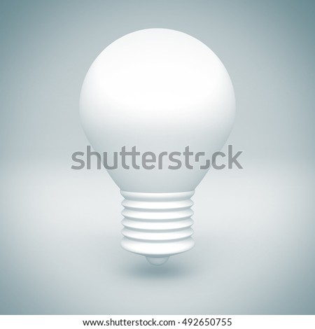 White Concept Light Bulb on Surface. 3d Render Illustration