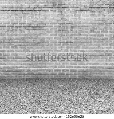 White Concrete brick walls and  floor for text and background
