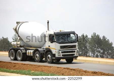 White concrete mixer
