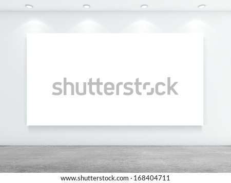 white concrete room with white blackboard - stock photo