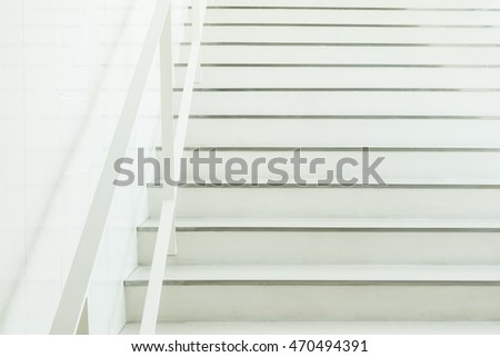 White concrete stair interior of building