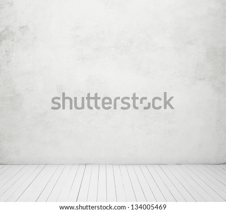 white concrete wall and white wood floor - stock photo