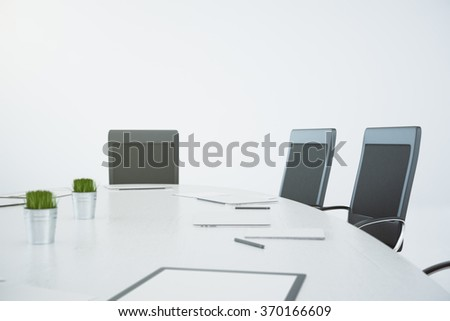 White conference table with chairs and papers 3D Render