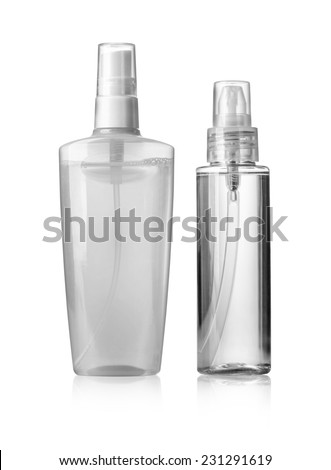 White container of spray bottle isolated over white background with clipping path - stock photo